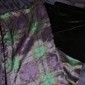 Velvet and plaid shawl